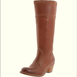 Frye Jane Brown Leather KneeHigh Riding Heel Boots